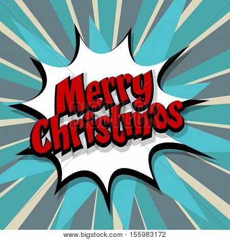 Merry Christmas. Speech comic bubble text blue background. Pop art style vector illustration. Retro burst expression speech pop art bubble cloud explosion. Boom communication graphic talk humor