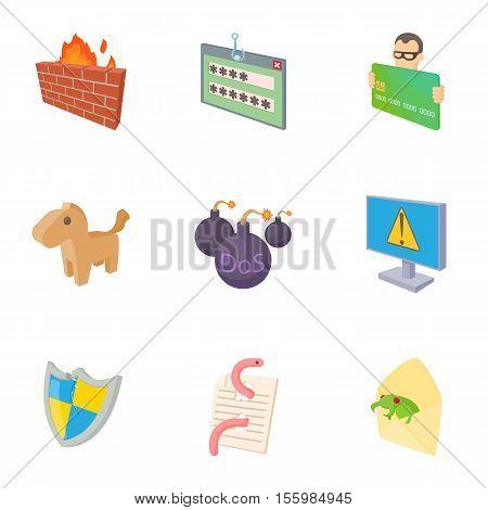 Viruses icons set. Cartoon illustration of 9 viruses vector icons for web