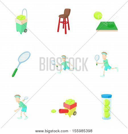 Active tennis icons set. Cartoon illustration of 9 active tennis vector icons for web