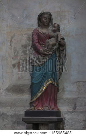 Poitiers France - September 12 2016 Famous roadside statue of the Virgin Mary with the Child at Which often prayed St. Louis Montfort now moved to the church of st. Radegund in Poitiers France