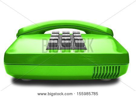 Old green phone with shadow on a white background