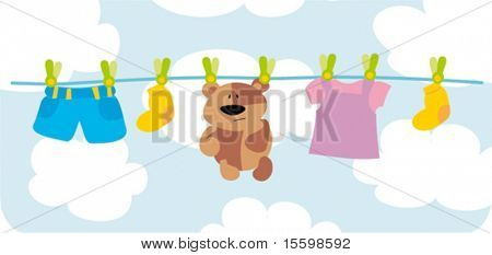child`s laundry and toy