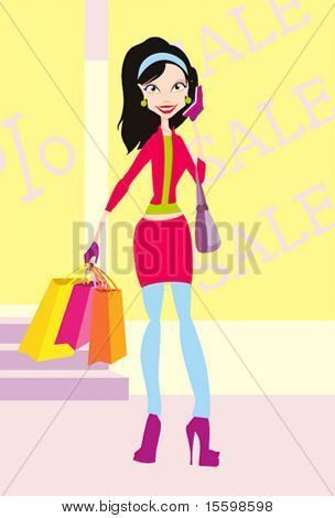 girl is caring many purchases from shopping