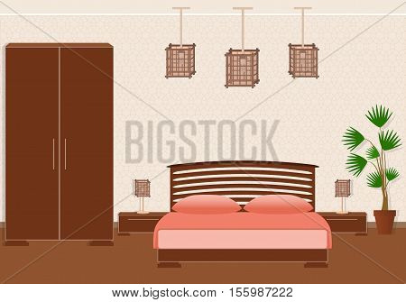 Brutal spartan style bedroom interior with furniture. Flat style vector illustration