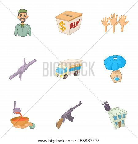 People refugees icons set. Cartoon illustration of 9 people refugees vector icons for web