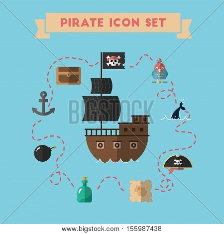 Flat Treasure Island Icons Collection Vector Illustration. Cartoon Carousel Of Pirate Icons In Mater