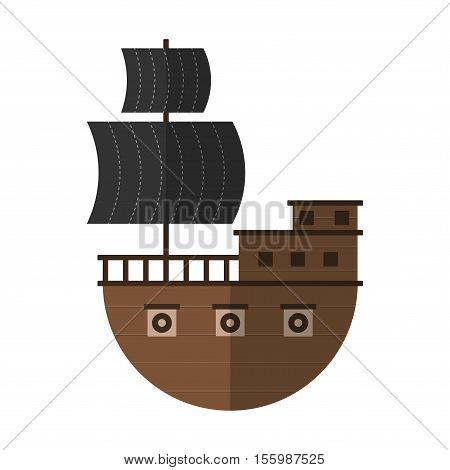 Flat Pirate Ship Cartoon Icon Isolated Vector Illustration. Cartoon Pirate Symbol In Material Flat S