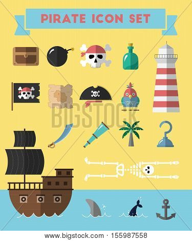 Flat Pirate Icons Collection Vector Illustration. Cartoon Treasure Island Symbols In Material Flat S