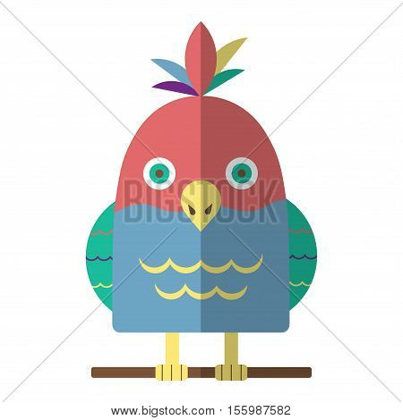 Parrot Flat Icon Isolated Vector Illustration. Cartoon Tropical Bird In Material Flat Style Design.