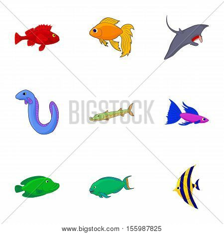 Inhabitants of sea icons set. Cartoon illustration of 9 inhabitants of sea vector icons for web