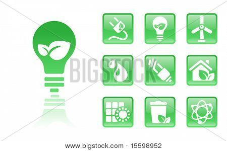 10 green eco icons;; see also Images ID: 18405196, 18405199, 18405193
