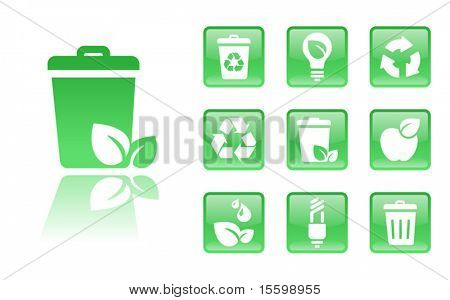 10 gloss  eco icons; see also Images  ID: 18405190 , 18405199 ,   18405196