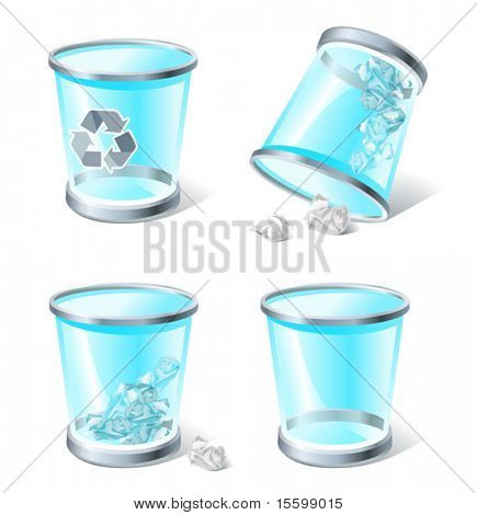 4 three-dimensional icons of trash bins,  see also Images ID: 18871447, 18716317