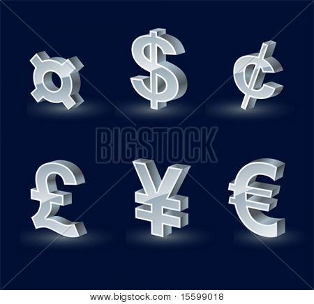 three-dimensional silver-plated currency symbols
