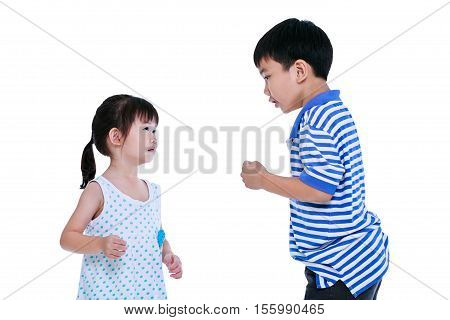 Quarreling conflict between the brother and sister. Asian kids are fighting isolated on white background.