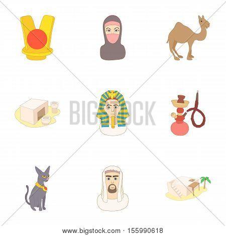 Attractions of Egypt icons set. Cartoon illustration of 9 attractions of Egypt vector icons for web