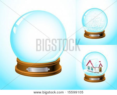 realistic snow globe empty and with snow and a house inside 