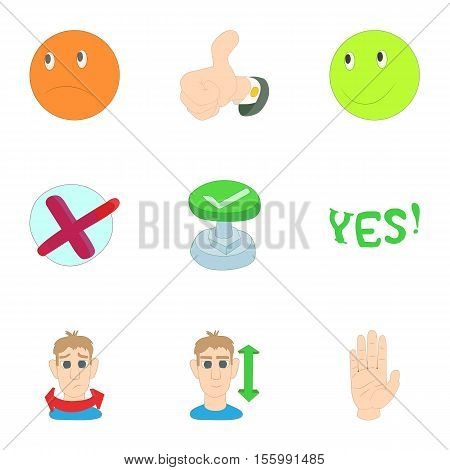 Choice icons set. Cartoon illustration of 9 choice vector icons for web
