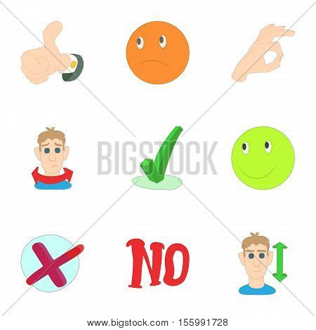 Consent and refusal icons set. Cartoon illustration of 9 consent and refusal vector icons for web