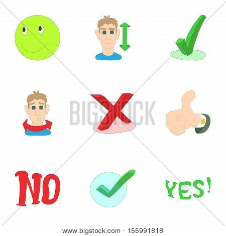 Choice failure icons set. Cartoon illustration of 9 choice failure vector icons for web