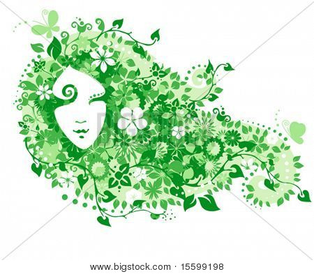 green fairy with flowers and butterflies