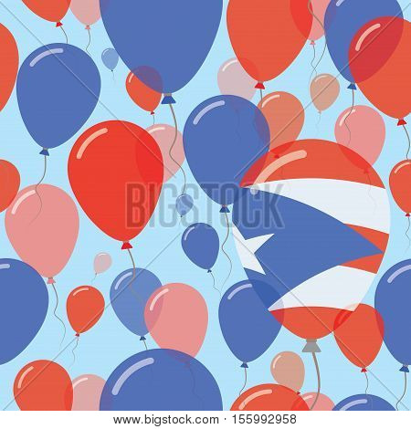 Puerto Rico National Day Flat Seamless Pattern. Flying Celebration Balloons In Colors Of Puerto Rica