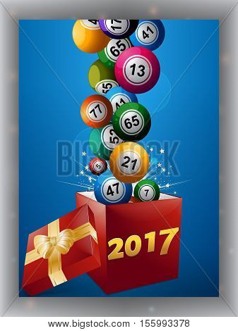 Bingo Balls Jumping Out From a Red Gift Box with Golden Ribbon Bow and 2017 Date over Blue Panel with Shadow