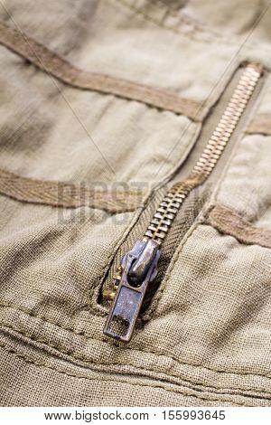 closeup of a metal zipper - shallow depth of field