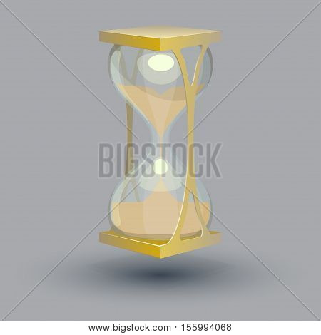 True transparent sand hourglass isolated on gray background. Simple and elegant sand-glass timer.