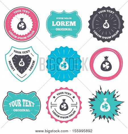 Label and badge templates. Money bag with three leaves clover sign icon. Saint Patrick trefoil shamrock symbol. Retro style banners, emblems. Vector