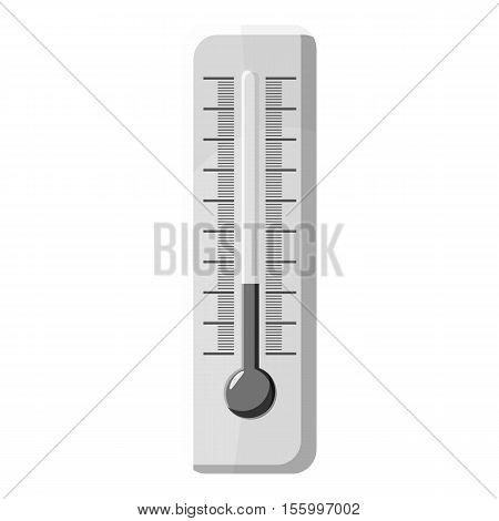 Thermometer icon. Gray monochrome illustration of thermometer vector icon for web design