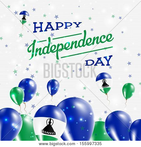Lesotho Independence Day Patriotic Design. Balloons In National Colors Of The Country. Happy Indepen