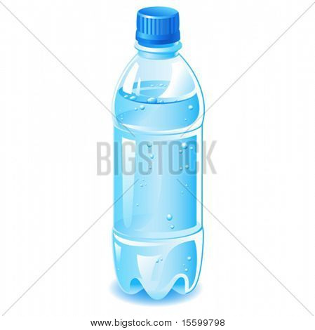 vector plastic bottle filled with blue water