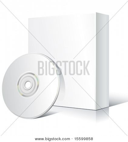 vector blank software box with cd
