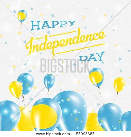 Palau Independence Day Patriotic Design. Balloons In National Colors Of The Country. Happy Independe