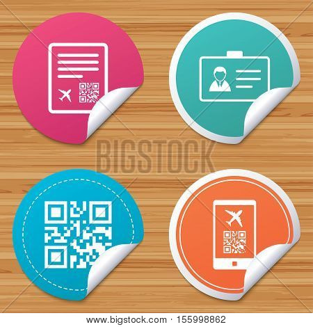 Round stickers or website banners. QR scan code in smartphone icon. Boarding pass flight sign. Identity ID card badge symbol. Circle badges with bended corner. Vector