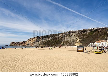 NAZARE, PORTUGAL - September 12, 2016: View of the magnificent beach of the fishing village of Nazare Portugal