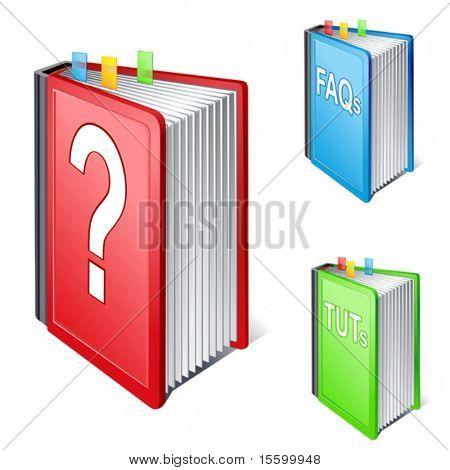 Ilustración de vector de icono de libro de ayuda
