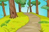 Hand drawn cartoon of summer landscape. Colourful cartoon of summer background. Cartoon background o poster