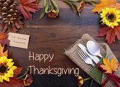 Happy Thanksgiving Background With Decorated Borders And Text. poster