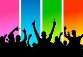 stock photo of party people  - A large group of people cheering - JPG