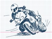 Hand drawn motorbike Vector. Visit my portfolio for big collection of doodles