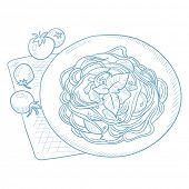 Постер, плакат: Spaghetti with basil and tomatoes on plate on napkin Spaghetti with basil and tomatoes hand drawn o