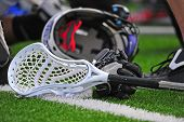 Boys lacrosse stick and helmet