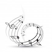 image of music note  - vector music note background illustration - JPG