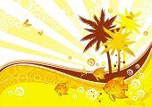 Постер, плакат: Солнечный иллюстрация с тропической флоры & фауны