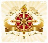 pic of brigantine  - Travel and adventures vintage emblem with golden compass rose - JPG
