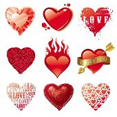 stock photo of corazon  - Vector set of different Valentines hearts - JPG