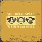 Постер, плакат: See no evil hear no evil speak no evil Vector illustration