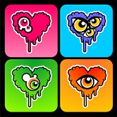 stock photo of psychodelic  - psychodelic hearts with eyes on them - JPG